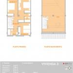 Plano de la planta pimera y baja de la vivienda tres