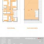 Plano de la planta pimera y baja de la vivienda cuatro